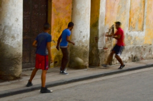 Street soccer - yes there was a ball.