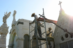 Repairs on the marble tombs at Colon Cemetery