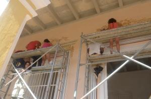 Restoration work in progress on the Palacio Cantero