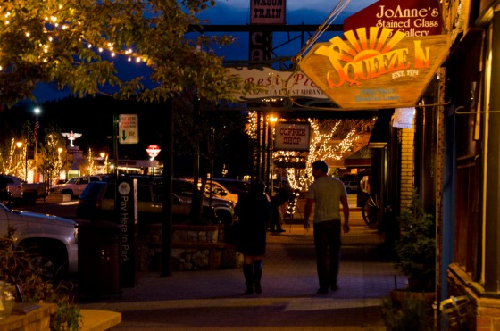Downtown Truckee at night.