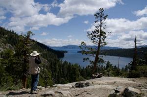 Annie shooting the lake.