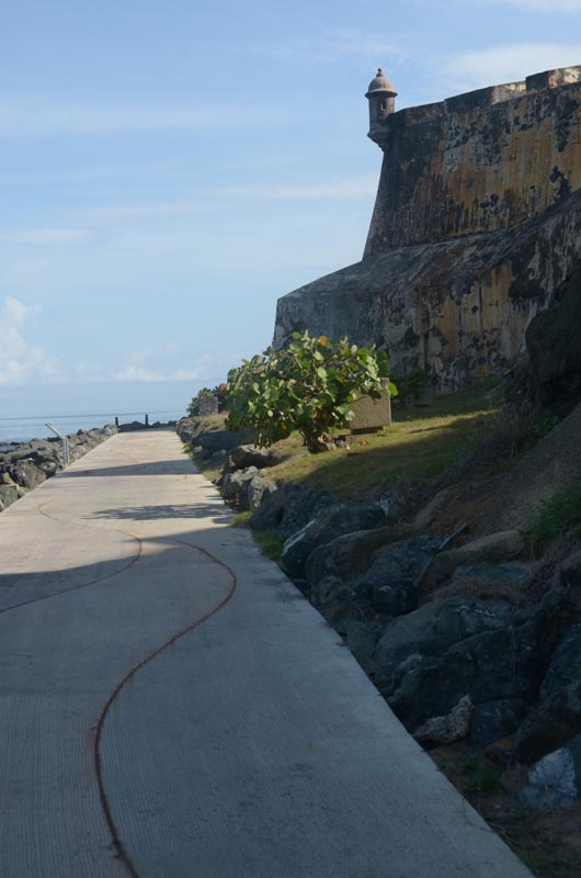 "This is part of the new (to us) section approaching El Morro (We're at the corner of the wall just beyond the words ""Polvorin de Santa Elena"" on the map)."