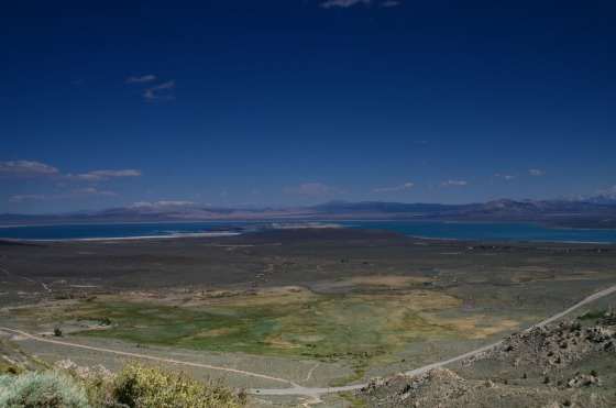 Here you can see how Mono Lake is located in a valley - and how big it is.  The white you see on the shore line is salt.