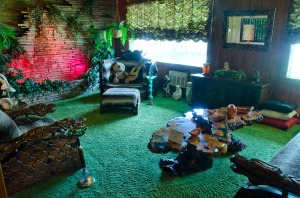 The jungle room - So 70s!! Shag carpet , even on the ceiling!