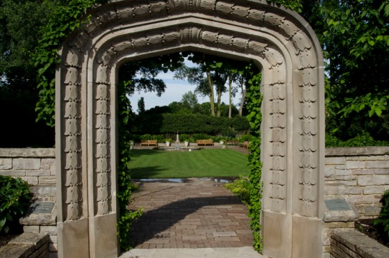 Entrance to the Sunken Garden.  Sculpture by my dad is way in the back behind the pool on the pedestal.