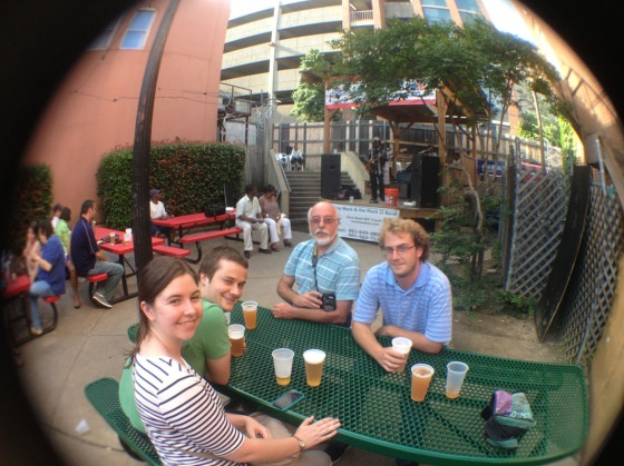 Fish eye of us enjoying the live music on Beale St.  Gerry, Oscar, Carlton and Lauren