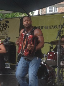 Zydeco band lead at the tomato festival
