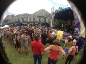 Fun picture of the crowd using the fish eye lens Gerry Jr. gave me for Mothers' Day.