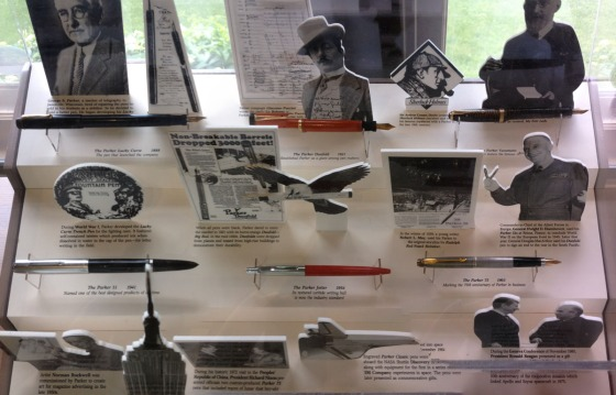 My favorite display case:  Shows gorgeous pens and the historic figures who used them!