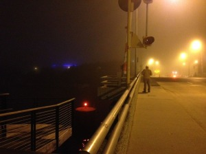 Walking home in the fog, a quiet end to a loud evening.