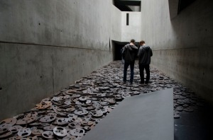 "This is one of the ""voids"" in the buildings architecture. There is an installation here called ""Falling Leaves""."
