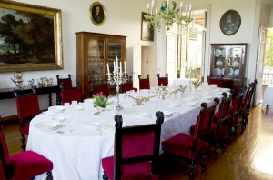 Gorgeous dining room, set for our class lunch.