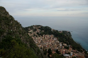 This is the view of Taormina we saw as we walked down the stairs. (See the Greek theater at the top of the hill in front of the water?)