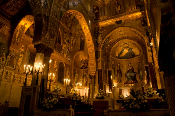 The interior of the Palatine Chapel of the Royal Palace in Palermo.