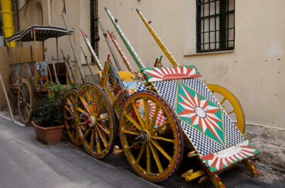 Some Sicilian painted carts outside a museum dedicated to them