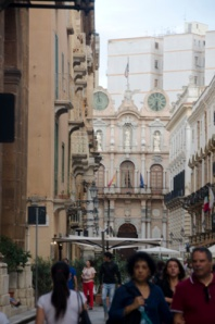 One of very few interesting features of Trapani...to the side of the building in the background is a famous clock tower.  The clocks at the top of this façade tell the day of the month(left side) and the time (right side).