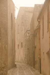 When we arrived in Erice, fog was drifting through the streets.