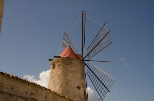A windmill in the salt flats near Trapani