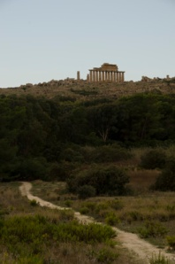The final, parting glance of the Selinunte temple ruins all alone on the crest of the hill.