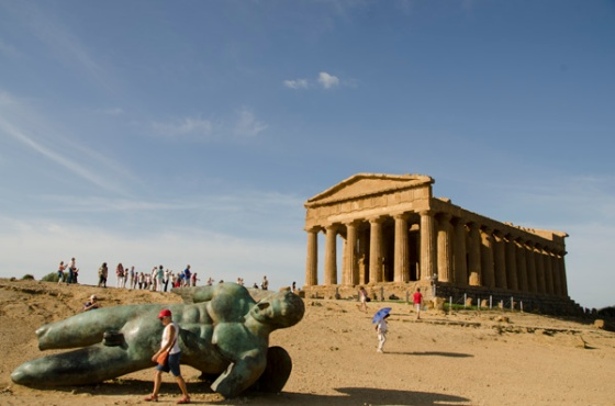 The Temple of Concordia by day.  The statue of Icarus in the foreground is from 2011.