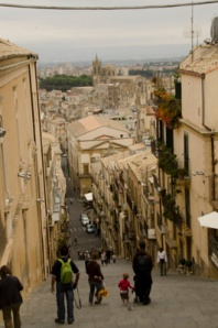 Looking back down the steps of Caltagirone.
