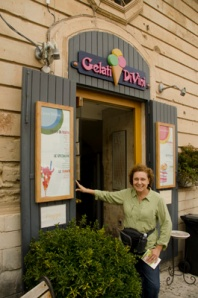 Galina, whose compass is set for sweets, shows off the Gelati Divini store.