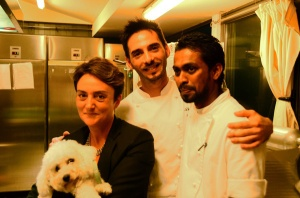 Rosaria Quartucci with her chef David and his right hand, at Villa Carlota