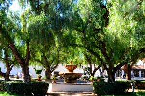 The San Diego de Alcala Mission courtyard.