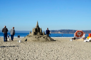Sand castle on the beach in front of the Hotel del Coronado (You can even get it personalized and have your picture taken next to it.)
