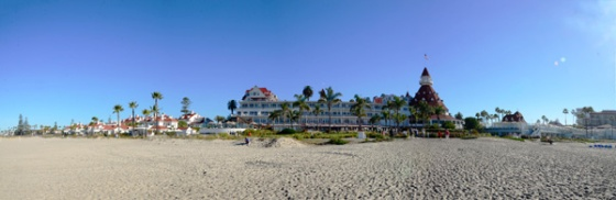 Panorama of the Hotel del Coronado from the beach.  In case you can't tell - the place is immense!