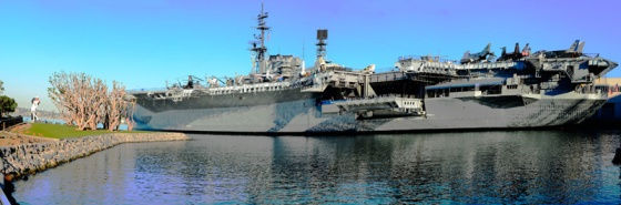 Panorama shot of the USS Midway.  (See the Sailor/Nurse statue on the far left?)
