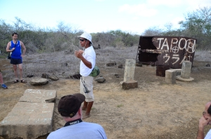 Jairo telling us about the human history of Floreana.