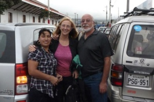 Miriam, Gerry and me holding up traffic in Ibarra.