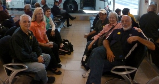 The Magnificent 6 at the airport in Quito killing the two hour delay.
