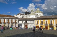 Looking at the square of San Francisco Church and the rooftops of the historic center of Quito