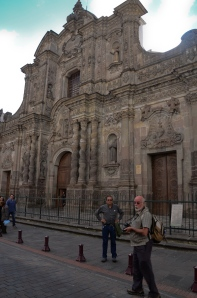 This is the front of the Iglesia de la Compania de Jesus.  (the man with his arms a kimbo is Jorge, our guide.