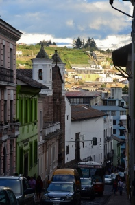 Picturesque look at a downtown Quito street - note the decline...