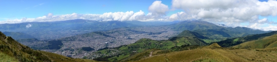 Panoramic View, much reduced, of the city of Quito from the top of the Teleferico
