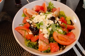 My lunch was a tomato and watermelon salad. Though I hate pictures of food, I wanted to remember and recommend this salad.