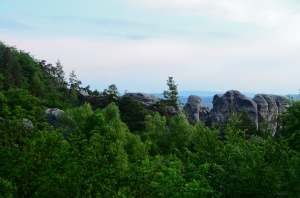 View of the rock formations from near our hotel in Hruba Skala