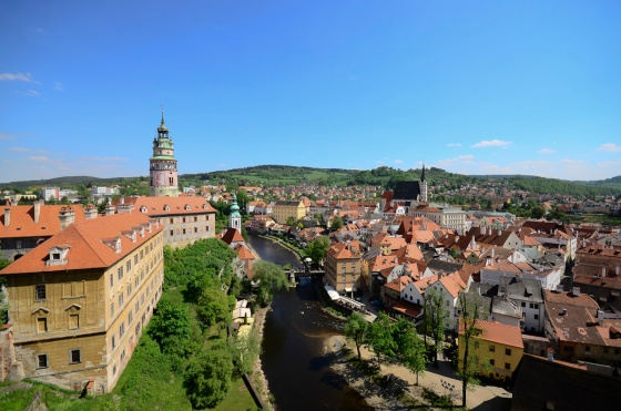 The town of Cesky Krumlov seen from the castle.