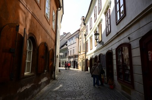 the quiet poet tourist streets of Cesky Krumlov