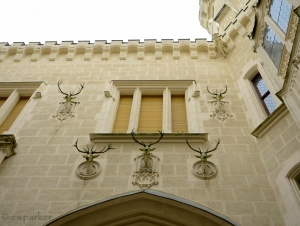 Hunting trophies as exterior decoration! Hluboká nad Vltavou Castle, Southern Bohemia