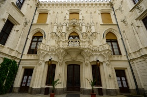 Ornate entrance in the courtyard - Hluboká nad Vltavou Castle, Southern Bohemia
