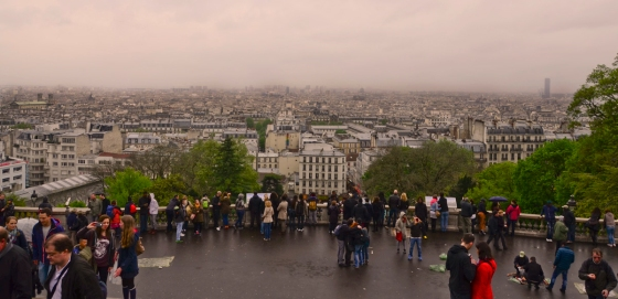 View of rainy, foggy Paris from Sacre Couer.