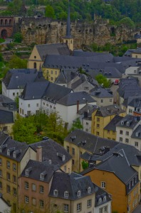 The city of Luxembourg sits atop steep cliffs and spreads out at the base of those cliffs. This is looking down on the old part of the city.