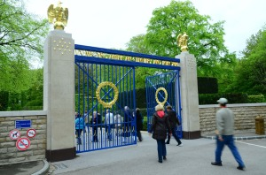 The entrance gates to the cemetery.