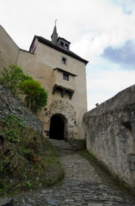 Marksburg Castle - look at the gateway.  You can see how the gate was once much bigger -to allow mounted men to enter!