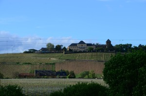 The winery mansion above the vineyards (but not where the wine is actually made).