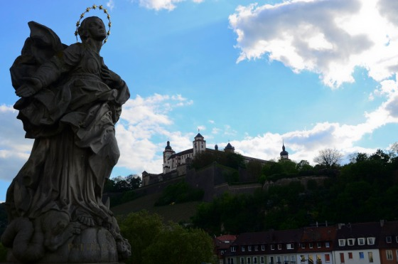 From the Wurzburg bridge, looking up at the town's castle.